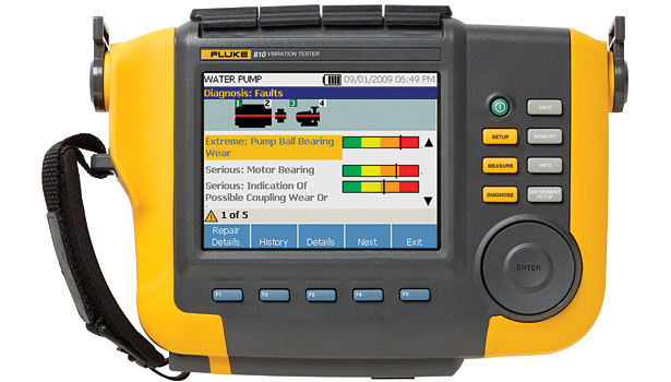 Vibration analyzer Model 810 can record device vibration signatures over time. (Photo courtesy of Fluke Corp.)