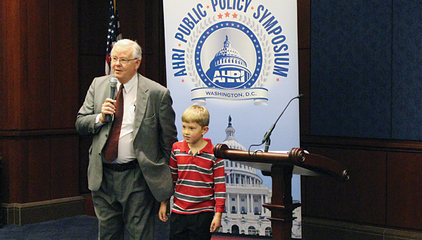 U.S. Rep. Joe Barton, R-Texas, seen here with his son, offered to help champion AHRI-supported legislation during a meeting at the U.S. Capitol. (Photo courtesy of AHRI)