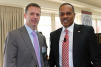 Keynote speaker and Fox News policy analyst Juan Williams (right) poses with AHRI president and CEO Stephen Yurek (left) at AHRIâ??s recent Public Policy Symposium in Washington, D.C.