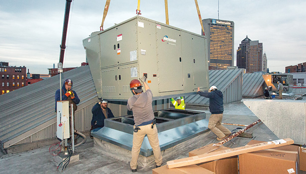 Many features that were once optional on rooftop units, like economizers and variable-speed motors, are now becoming standard features. (Photo courtesy of Modine Mfg. Co.)