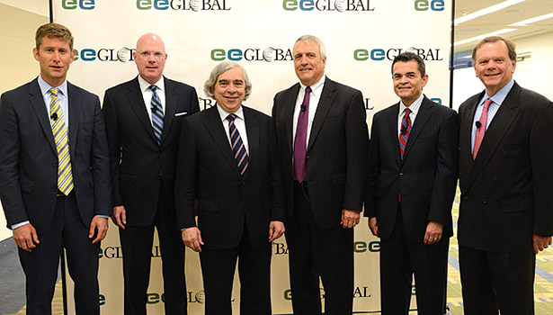 Energy experts and leaders, including U.S. Secretary of Energy Ernest Moniz (third from left), attend the 2014 Energy Efficiency Global Forum in Washington, District of Columbia.