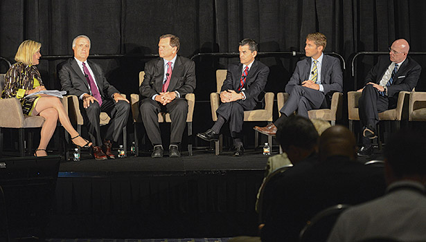 Senior energy officials and other experts discuss issues relating to government leadership, market transformation, the built environment, and investment and financing during EE Global 2014.  (Photo courtesy of the Alliance to Save Energy)