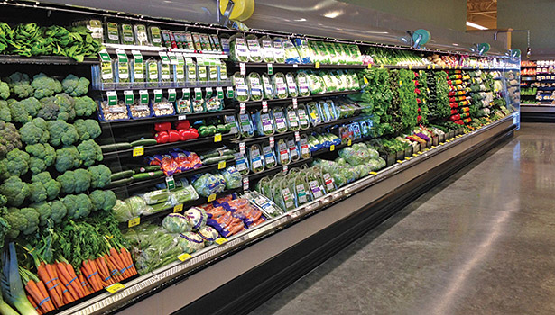 This produce case is operating on a transcritical system using CO2 as the refrigerant. (Photo courtesy of Hillphoenix)
