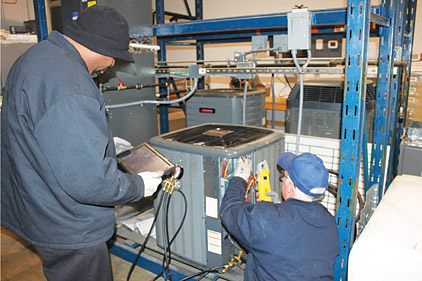iPads and other technologies are used for training purposes at Brothers Air, Heat, & Plumbing, Rock Hill, South Carolina.