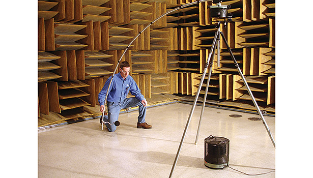 Trane is researching new ways to reduce the sound energy produced by its equipment, as shown by this reference sound source calibration in an anechoic chamber. (Image courtesy of Trane)