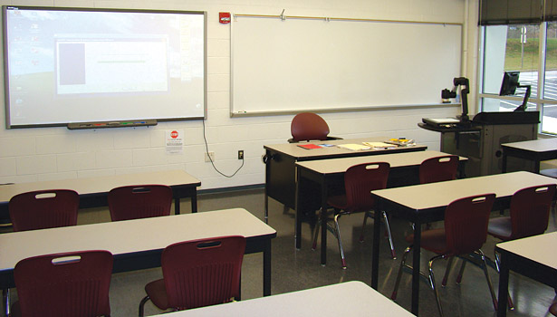 Classrooms, such as this one in the HVAC building on the Northern Virginia Community College â?? Woodbridge campus, still look like a classroom of the past, but contain new technologies employed by instructors in the teaching process.