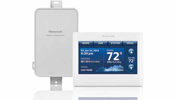The Honeywell Prestige thermostat is capable of detecting IAQ problems in a home or business and sending an alert to the owner. (Image courtesy of Jackson Systems LLC)