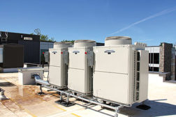 The new Brescia University College residence hall and dining complexâ??s rooftop modular steel mounting frame system supports 34 Mitsubishi Electric City-Multi Series VRF condensers.