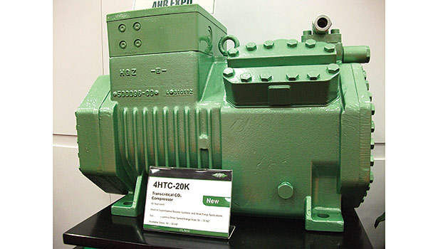 Transcritical CO2 systems have been gaining favor in supermarket applications and have been part of displays at recent expos, such as this compressor shown at a recent AHR Expo.