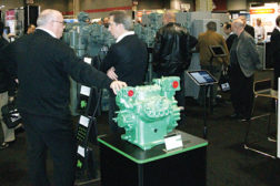 The Bitzer booth at the IIAR expo features the latest equipment