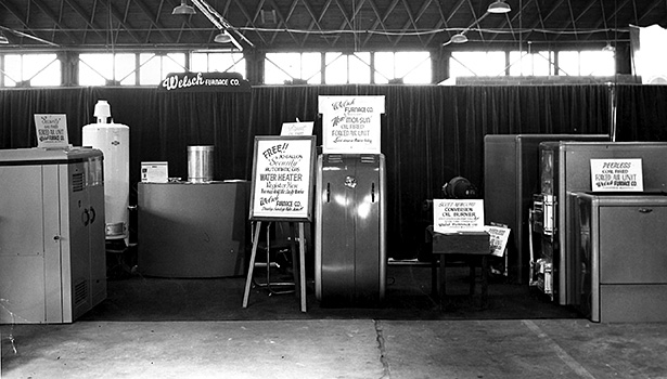 Welsh said his company has gone from exhibiting at three shows per year to just one. He has been attending home shows since 1947, when this picture was taken.