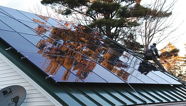 This photovoltaic (PV) system in Newport, Maine, is used to offset electricity for mini-split heat pumps, according to Vaughan Woodruff, owner, Insource Renewables, Pittsfield, Maine.