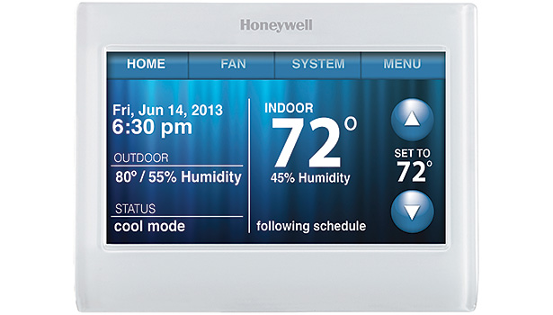 The Honeywell RTH9580WF is a Wi-Fi-enabled thermostat that features a bright, full-color customizable screen.