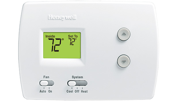 The Honeywell TH3110 is a nonprogrammable digital heat/cool digital thermostat. It features dual-power capabilities (batteries or hardwired connection), and 1 heat/1 cool configuration.