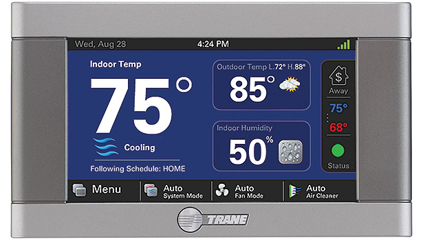 The Trane XL824 has a 4.3-inch color touchscreen and offers a full-featured and easy-to-use interface.