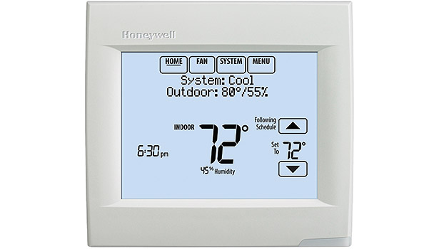 The Honeywell VisionPRO 8000 Wi-Fi is a seven-day programmable unit with dual-powered battery or hard-wired setup.