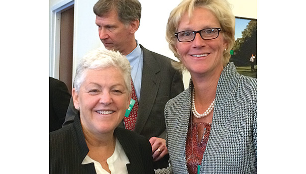 EPA Administrator Gina McCarthy (left), is pictured with Laura Wand (right), vice president, chiller solutions, Johnson Controlsâ?? buildings efficiency business.