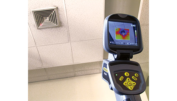 General Toolsâ?? GTi20 can be used to analyze the temperature of air emitting from an HVAC ceiling vent.
