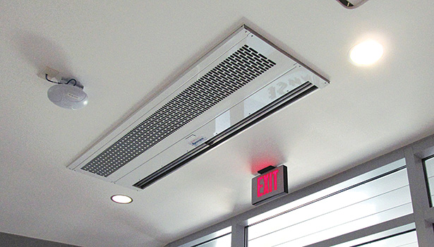 Air curtains, such as this one manufactured by Berner Intl.,  can help hospitals dramatically reduce the infiltration of hot or cold air, which saves energy.