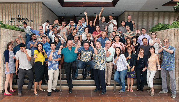 The first graduating class of the Efficiency Sales Professional Boot Camp, sponsored by Hawaii Energy, celebrates with ninja poses. Jewell calls his graduates Efficiency Sales Professional Ninjas.