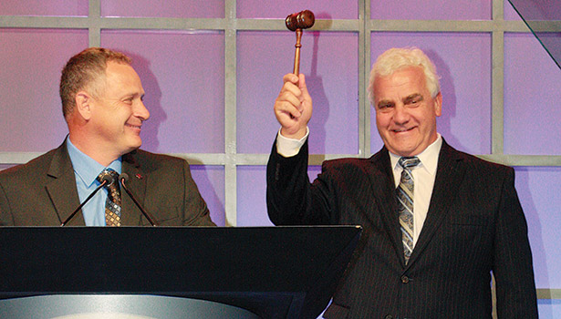SMACNA president Randy Novak (left), president, Novak Heating and Air, Hiawatha, Iowa, passes the gavel on to 2015 president Thomas Szymczak (right), president of SSM Industries Inc., Pittsburgh.