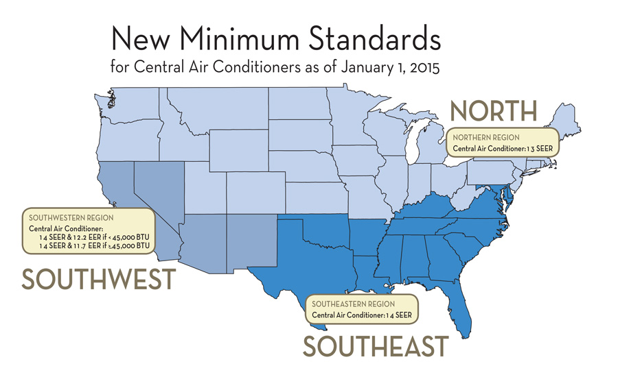 For the first time, minimum efficiency standards for HVAC equipment are dependent on the region in which the equipment is installed.