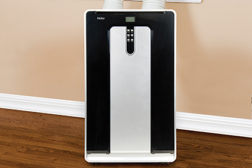 Haier displayed a dual-hose portable a/c unit model HPND14XCP at its booth. This 13,500-Btu portable air conditioner is ideal for spot cooling spaces up to 500 square feet.