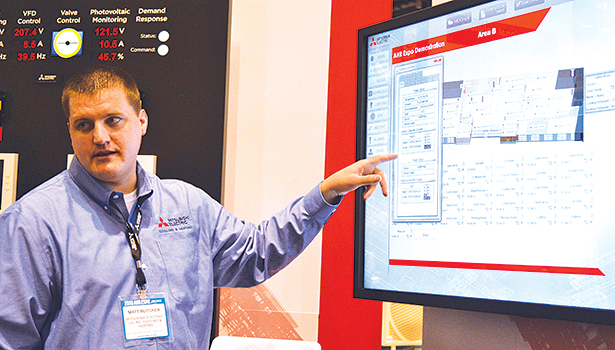 Matt Blocker, Mitsubishi Electric US Cooling & Heating, discusses one of the manufacturerâ??s featured new products at the AHR Expo in Chicago.