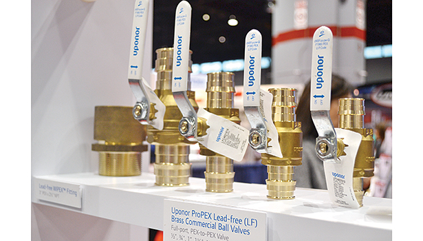 Uponor showcased its new code-listed ProPEX Lead-free (LF) Brass Commercial Ball Valves for PEX-to-PEX connections in plumbing and hydronic distribution applications.