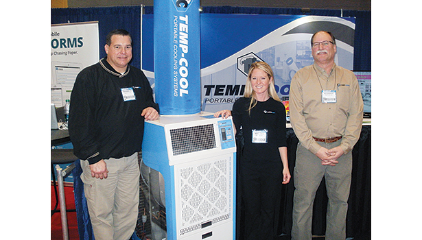 Temp-Air representatives pose in front of the company�¢??s booth. Left to right are Rick Kowalski, technical field representative; Amanda Rahn, marketing manager; and Edward LoCascio, product manager.