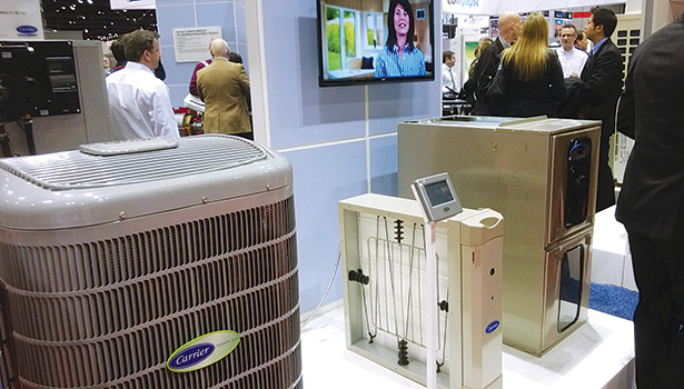 At the Carrier booth, the Infinity�® 18VS heat pump leverages inverter technology that drives the variable-speed compressor and the fan motor.