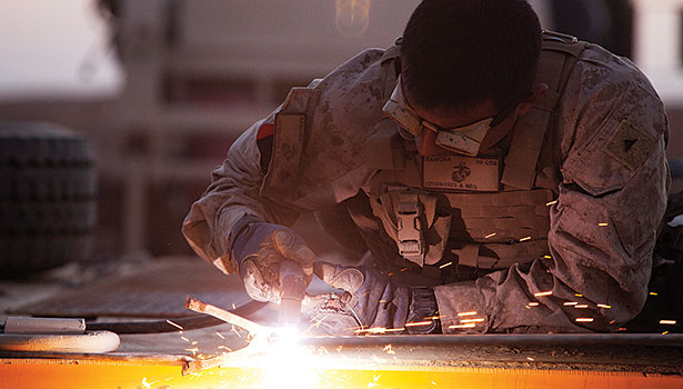 Sheet metal work goes beyond the HVAC industry. Here, Lance Cpl. Josue M. Zamora, a metal worker with Engineer Support Company, 2nd Combat Engineer Battalion, cuts sheets of metal