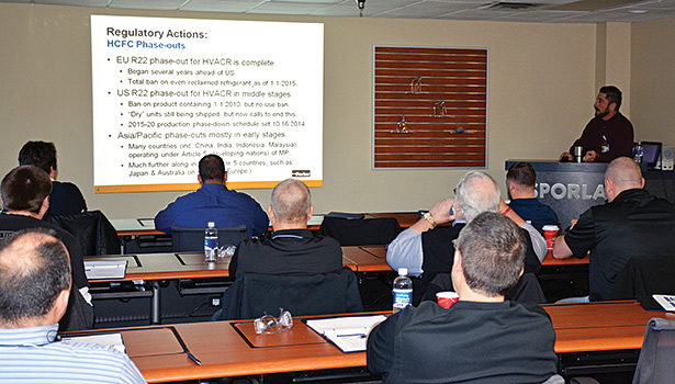 Regulatory actions surrounding the phaseout of R-22 refrigerant are discussed inside the classroom at Sporlanâ??s new training center in Washington, Missouri.