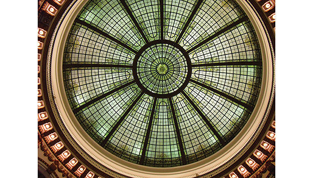 The Tiffany-style dome in the Cleveland Trust Rotunda has a diameter of 61 feet and is 85 feet above the grocery storeâ??s floor.