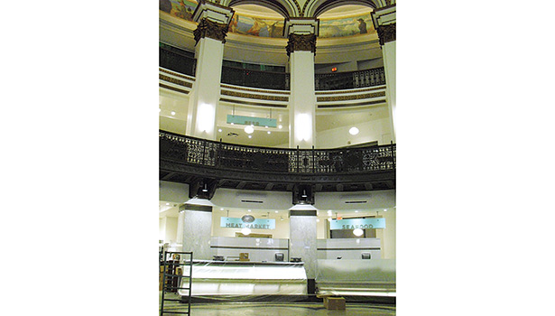 This view shows the three levels of the Rotunda: The ground level has refrigerated display cases, the second level has the beer and wine section, and the third level houses offices.