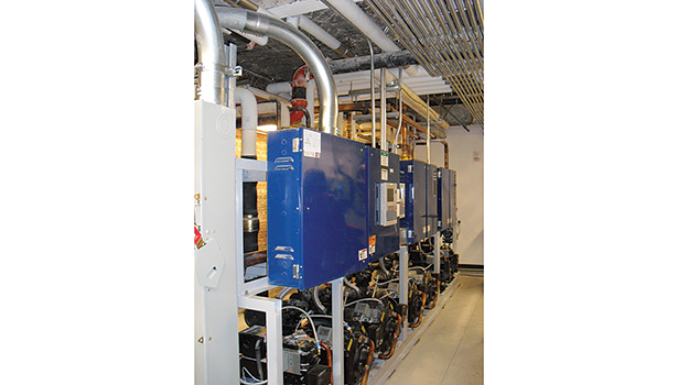 The compressor roomâ??s tight spaces required the refrigeration rack to be dropped down through the floor and then reassembled.