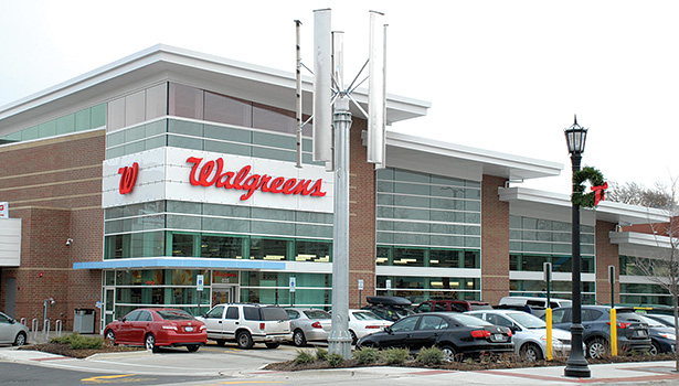 The exterior of this Zero-net-energy Walgreens location in Evanston, Illinois, features nearly 850 rooftop solar panels.