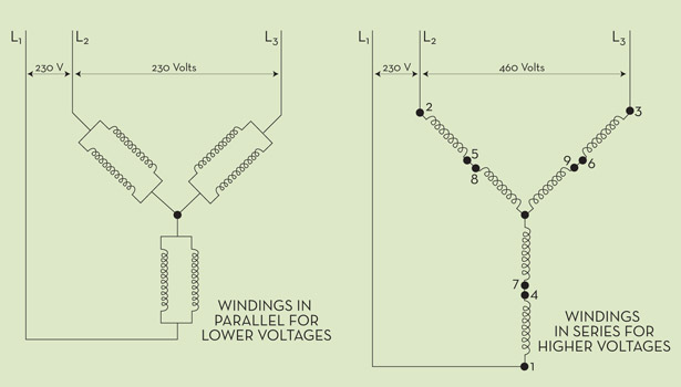 12 lead high voltage motor hook up
