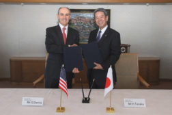 Geraud Darnis, president and CEO, UTC Building & Industrial Systems, and Hisao Tanaka, president and CEO, Toshiba Corp., announced plans to establish engineering centers in India, North America, and Europe.