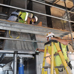 Inside the Control and Support Building of the Blue Grass Chemical Agent Destruction Pilot Plant, HVAC ductwork testing is under way to ensure high quality installation standards. (Photo courtesy of PEO ACWA, https://flic.kr/p/de2XdK)
