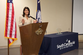South Carolina Gov. Nikki Haley speaks at the South Carolina All-Women's Factory Tour and Luncheon.