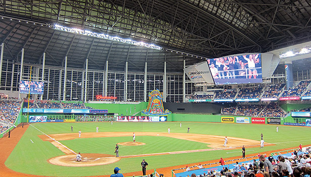 Marlins Park is notable for its retractable roof, outfield aquarium, and swimming pool. It has also achieved LEED Gold certification. (Photo courtesy of verndogs, http://bit.ly/MarlinsHVAC2)