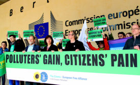 SPEAKING OUT: Members of the European Free Allianceâ??s The Greens protest against proposed European Union energy regulations.