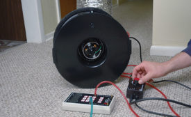 AIR REPAIR: Duct-leakage testing kits are typically made up of a duct-testing fan, pressure gauge, speed controller tubing, and flexible duct.