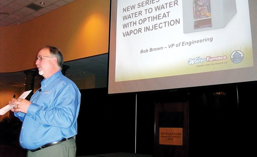 ON TOUR: Bob Brown, vice president of engineering, WaterFurnace Intl. Inc., speaks during the WaterFurnace Home Comfort Tour in Columbus, Ohio.