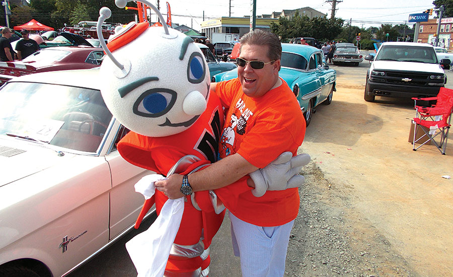 MASCOT MARKETING: Steve Moon, owner of Moon Air Inc. in Elkton, Maryland, markets his mascot all over town by participating in fairs, parades, and even kidsâ?? birthday parties.