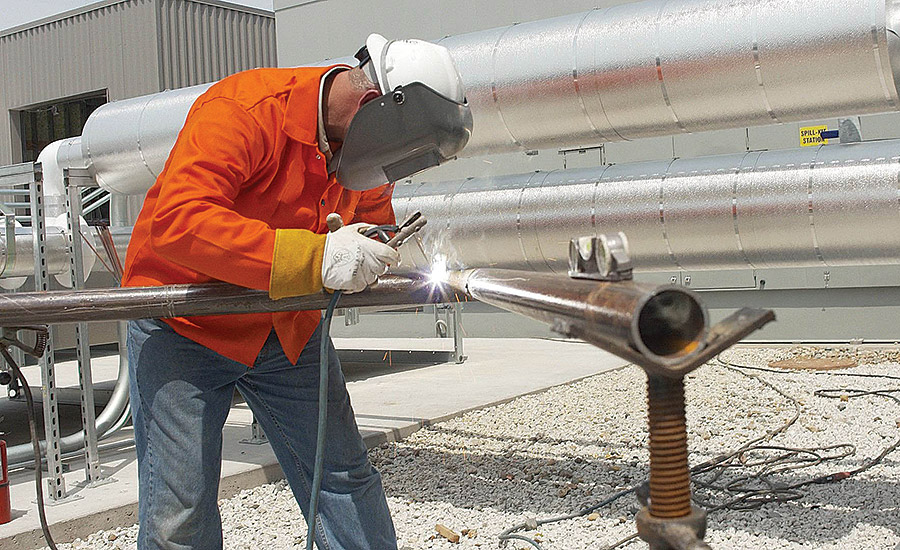 EYE PROTECTION: In addition to safety glasses, welders should use No. 10, 12, or 14 helmet plates, depending on the job.