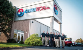 The management team at Climatech Inc., a Pittsburgh-based contractor in both the residential and commercial markets, poses for a picture outside the companyâ??s remodeled building.