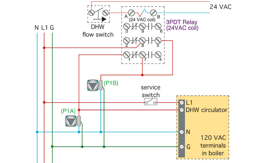 Hydronics zone combining a water to water heat pump with a modcon figure 2 a wiring diagram for the system displayed in figure 1 swarovskicordoba Gallery