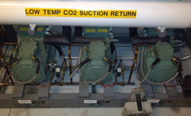 LOW-TEMP: The transcritical CO2 system's low-temperature compressors and suction return..